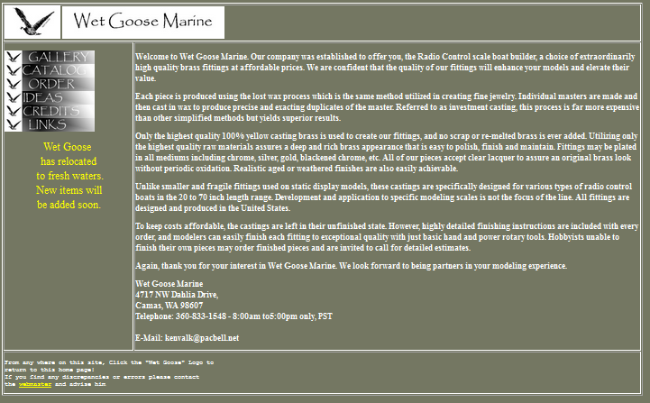 Original Home Page of Wet Goose Marine.