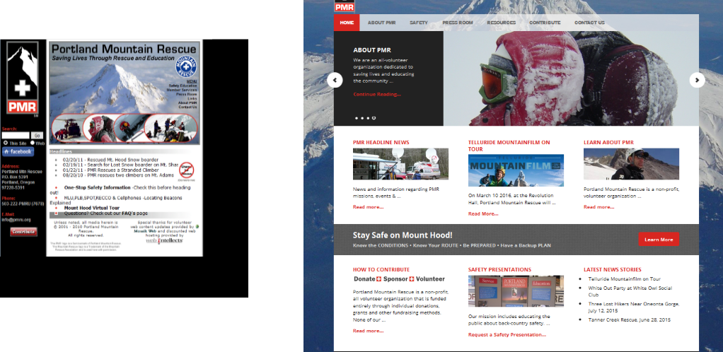 Website Redesign for Portland Mountain Rescue