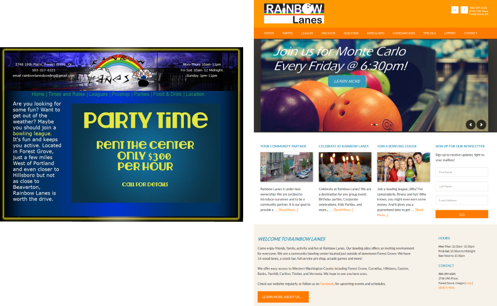 Website Redesign for Rainbow Lanes