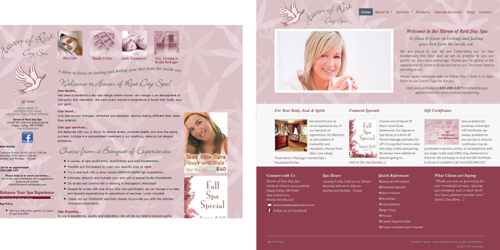 Website Redesign for Haven of Rest Day Spa