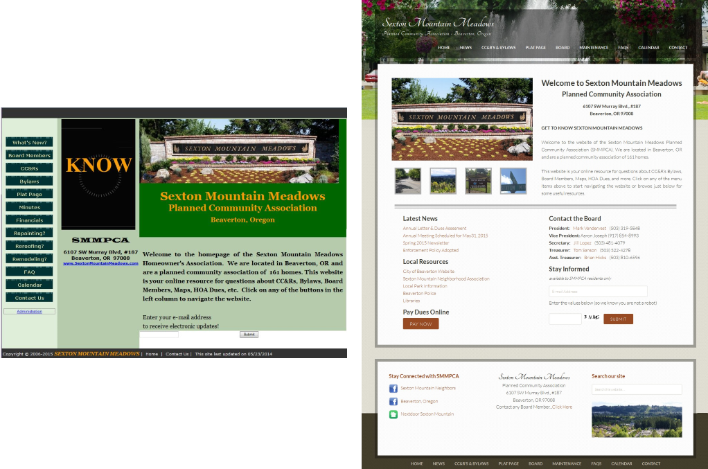 Website Redesign for the Sexton Mountain Meadows Planned Community Association