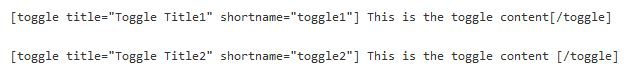 Toggle Shortcode