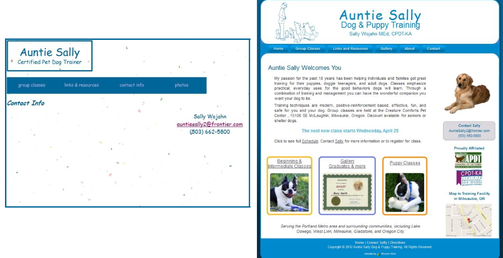 Website Redesign for Aunt Sally Dog & Puppy Training